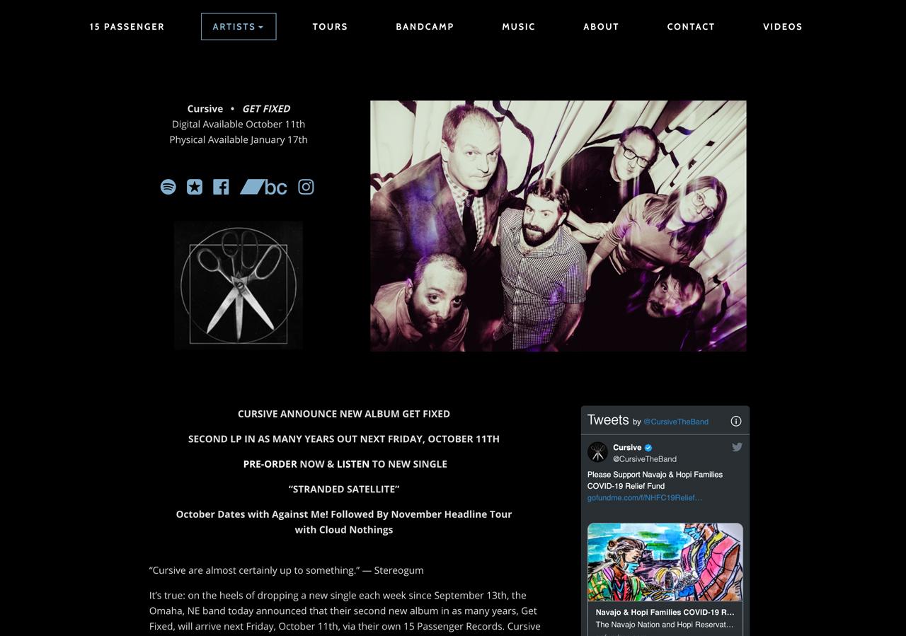 Record label website design