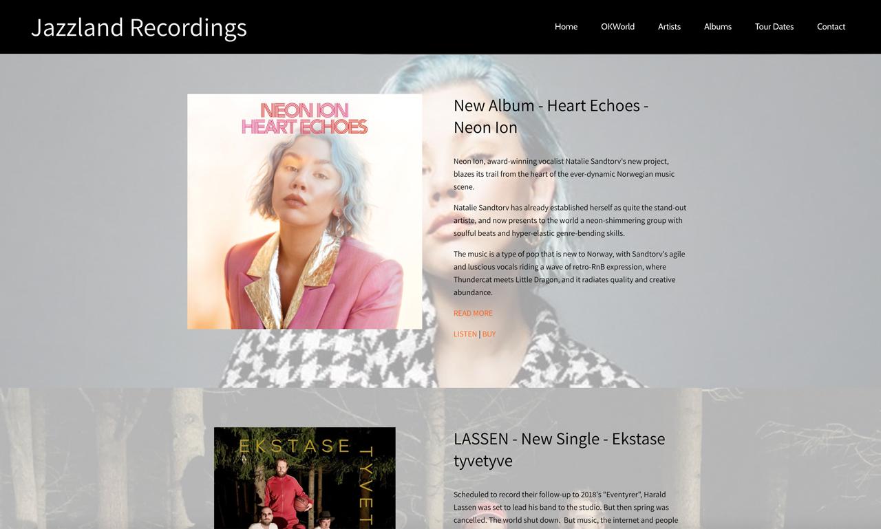 Record label website design Jazzland Recordings