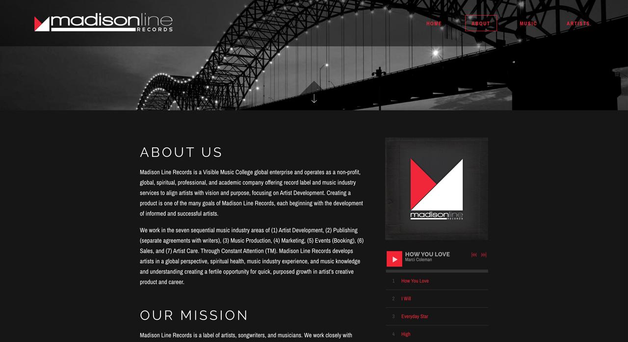 Record label website design inspiration