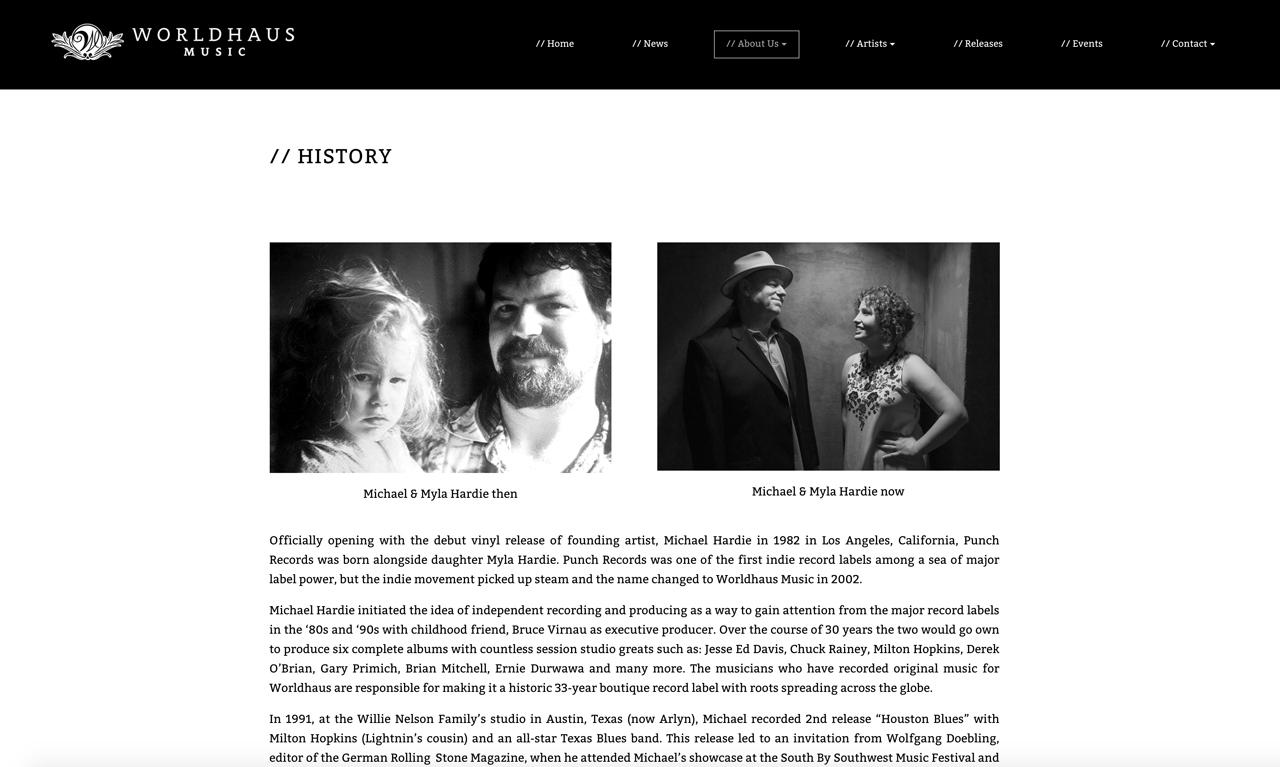 Record label website design Worldhaus music