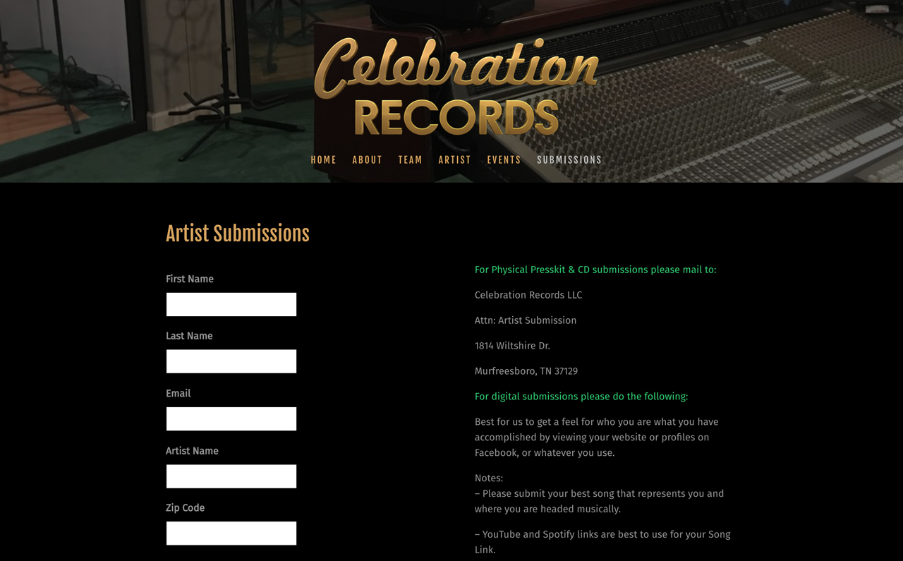 Record labels website examples