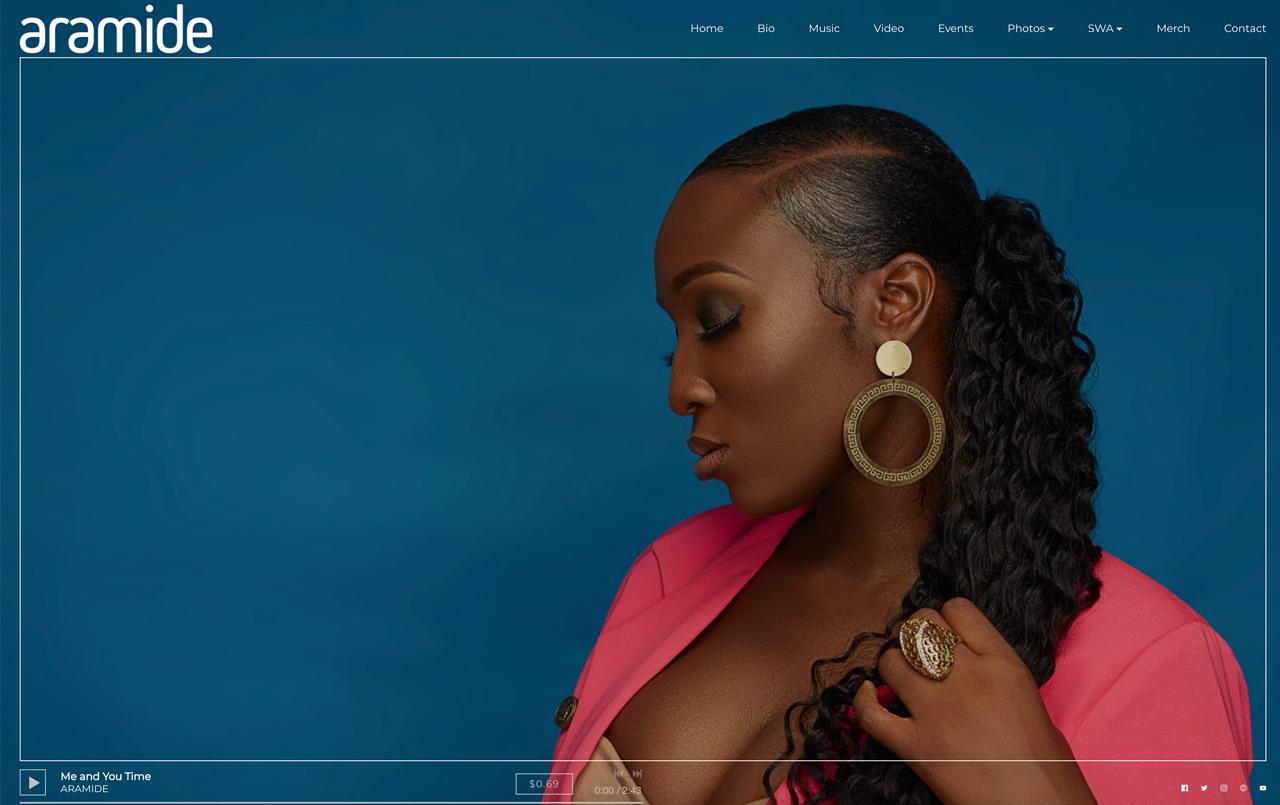 Music website design example Aramide