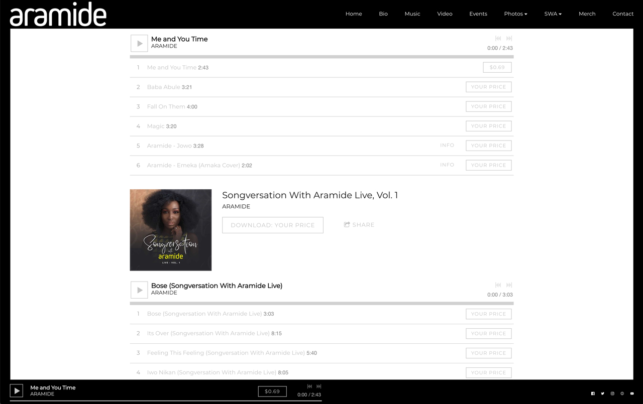 Sell music and merch directly on your music website example