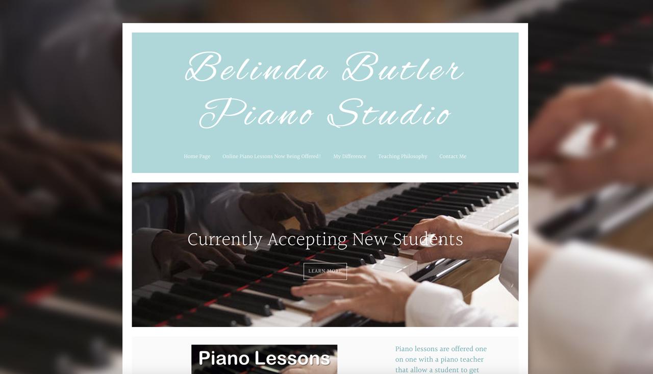 Piano teacher website example Homepage