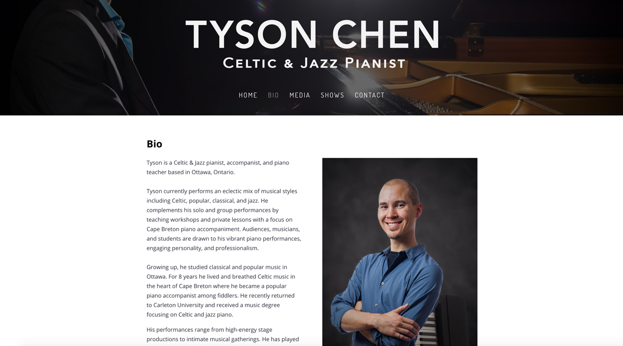 Piano teacher website example about page