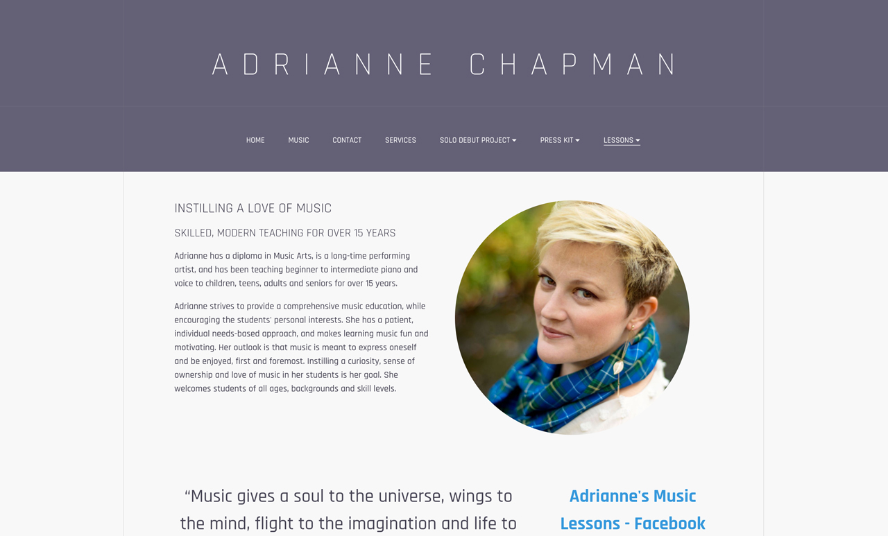 How to build a piano teacher website example one-page