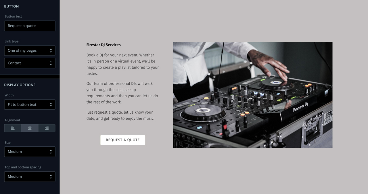 Add a button to your music website
