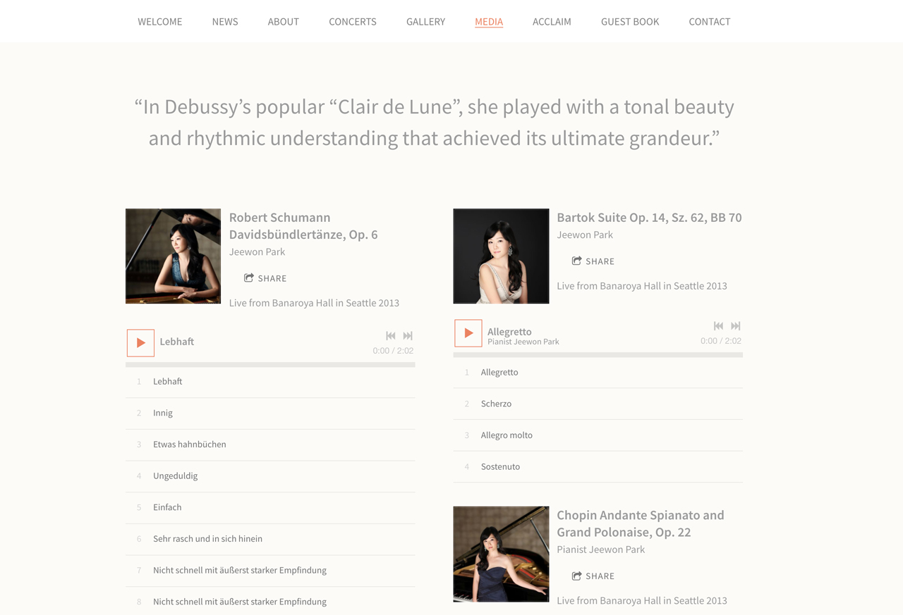 How to design a great pianist website - Jeewon Park