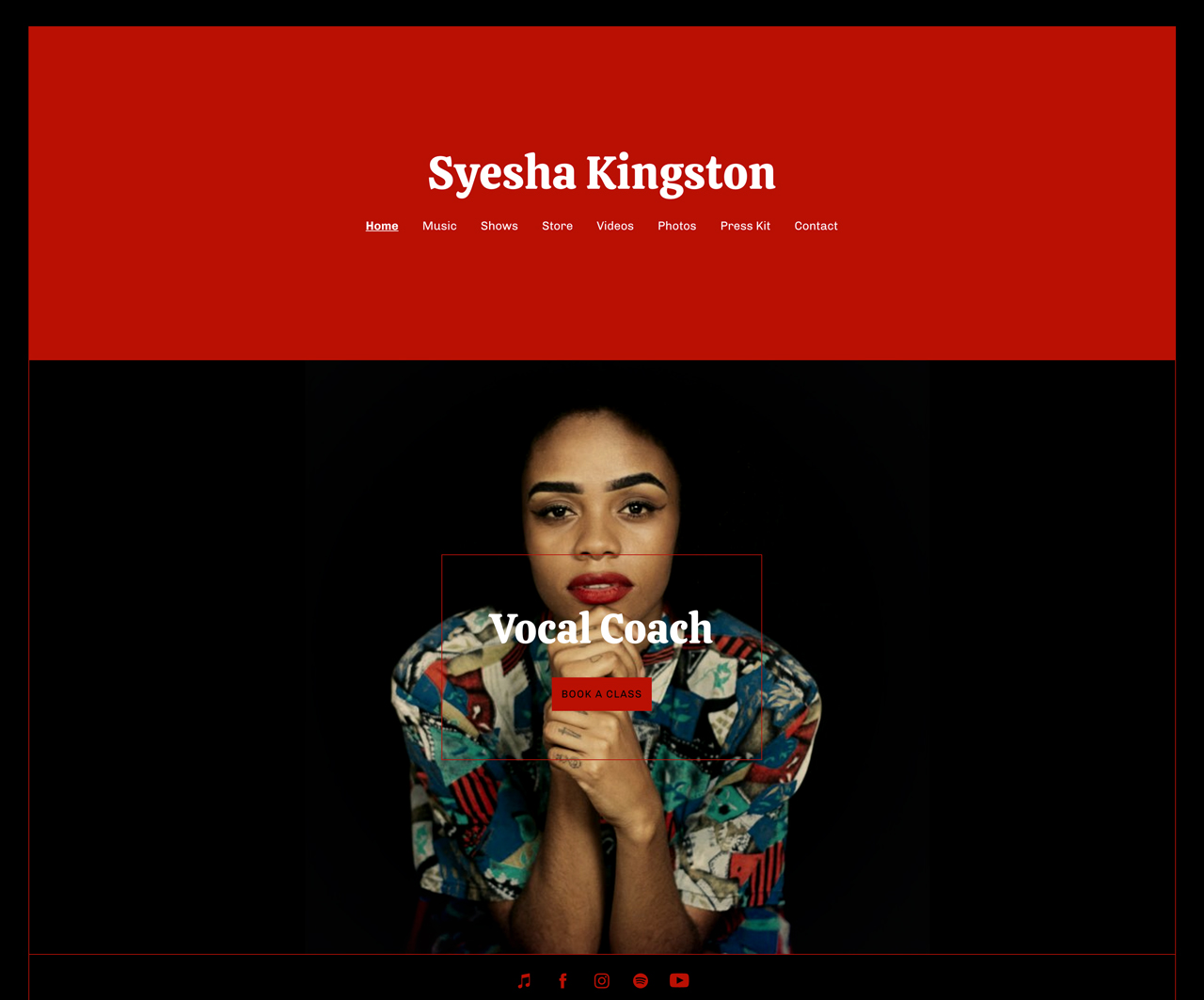 Musician website template: call-to-action example