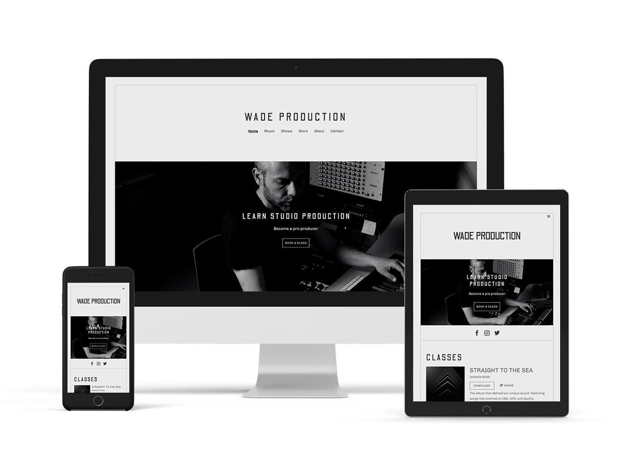 Musician website template: neutral website template example