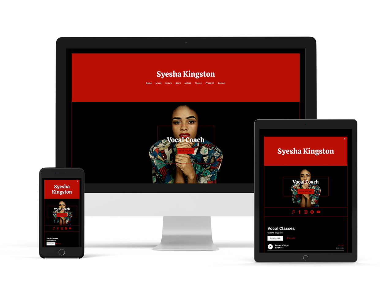 Musician website template: sombre version example