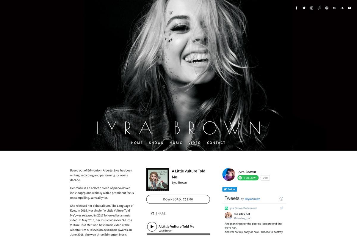Best pianist websites examples: Lyra Brown