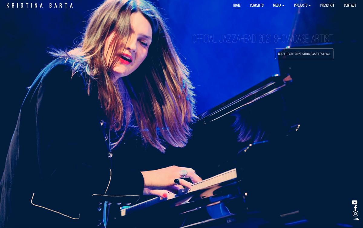 Best pianist website examples: Kristina Barta