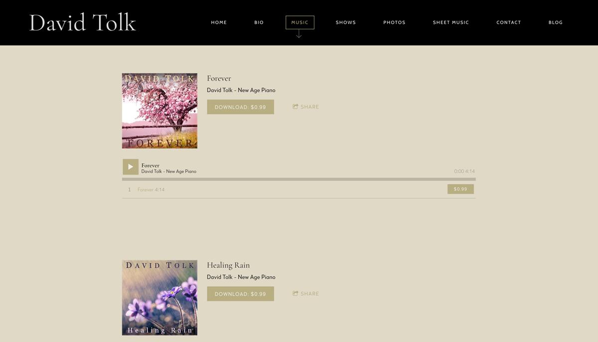 Best pianist website designs: David Tolk