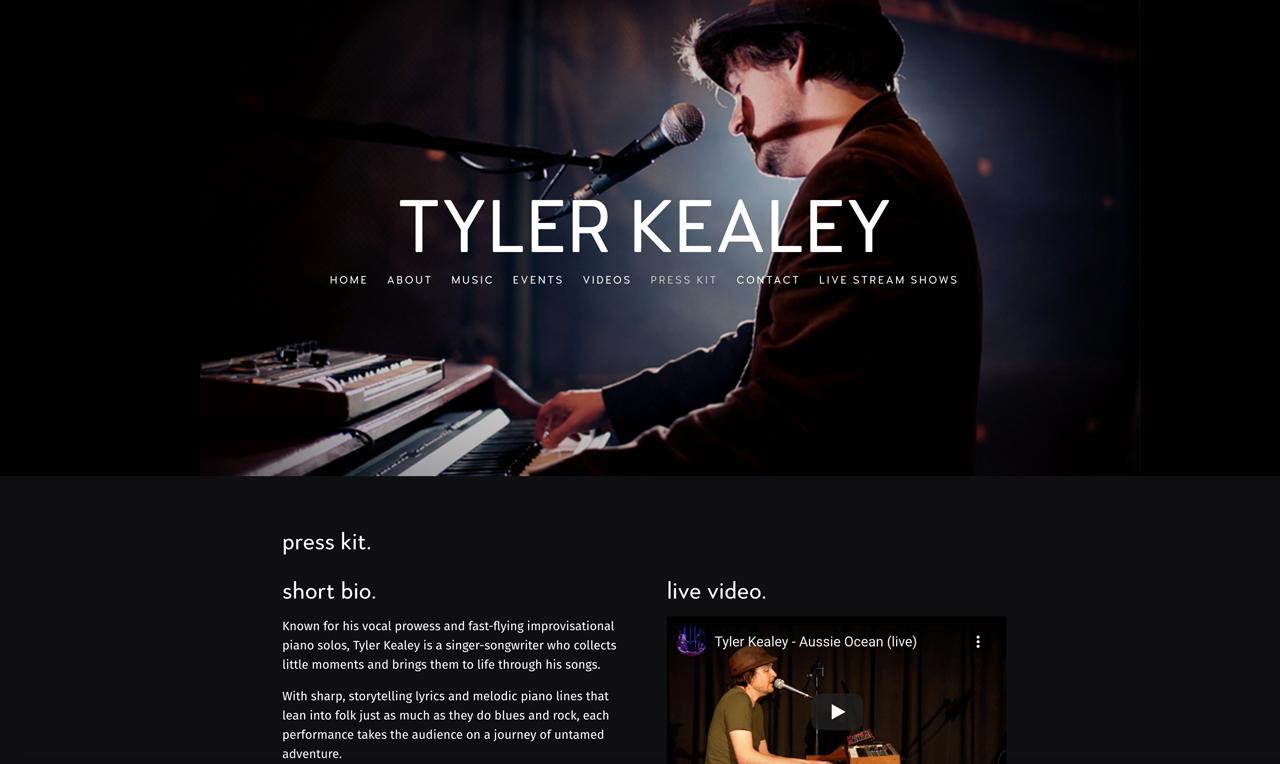Best pianist websites: Tyler Kealey