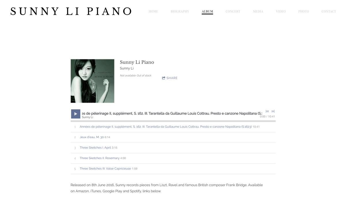 Best pianist website designs: Sunny Li
