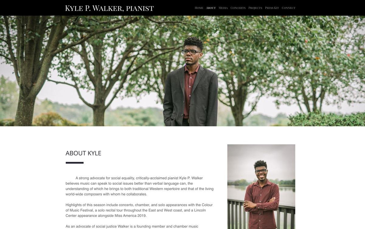 Best pianist website examples: Kyle P Walker