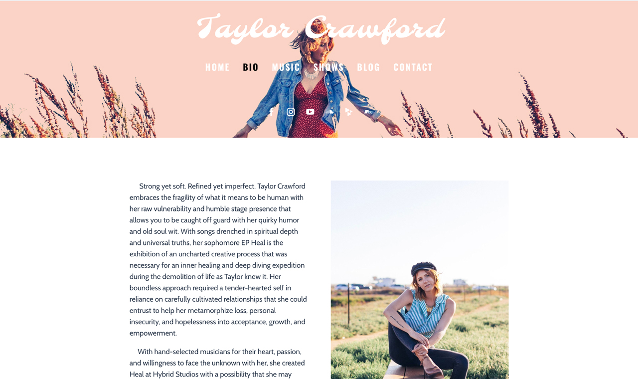 How to design a great songwriter website - add a bio