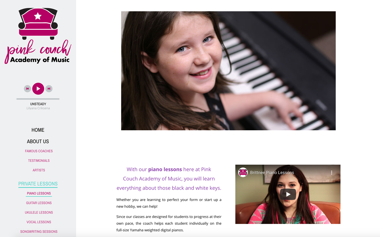 Best piano teacher website examples