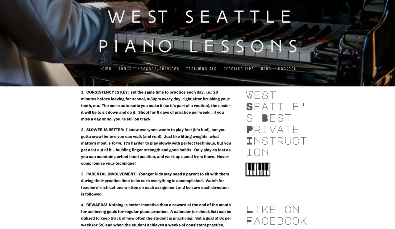 Best piano teacher websites examples: west seattle lessons