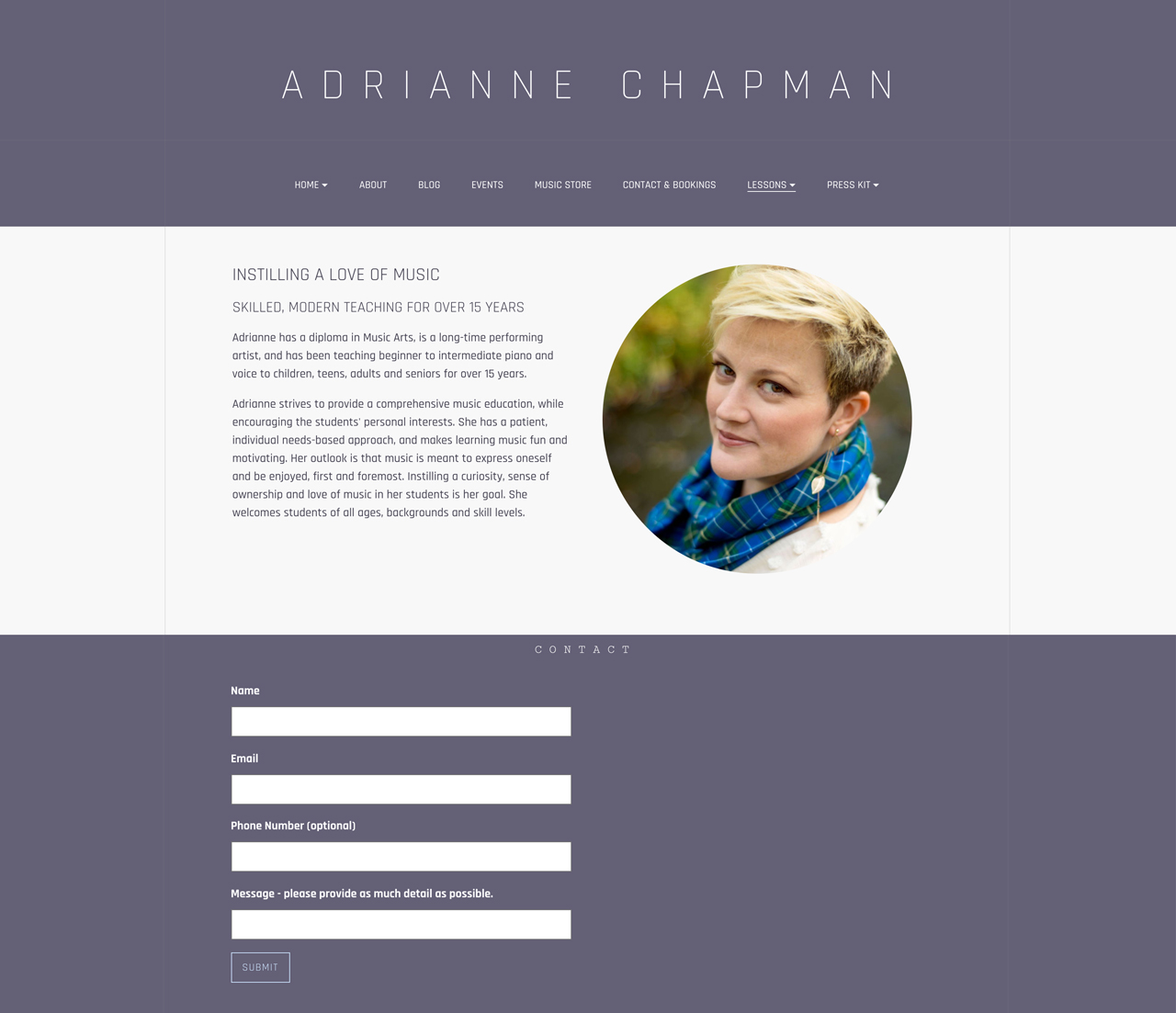 Best piano teacher websites: Adrienne Chapman