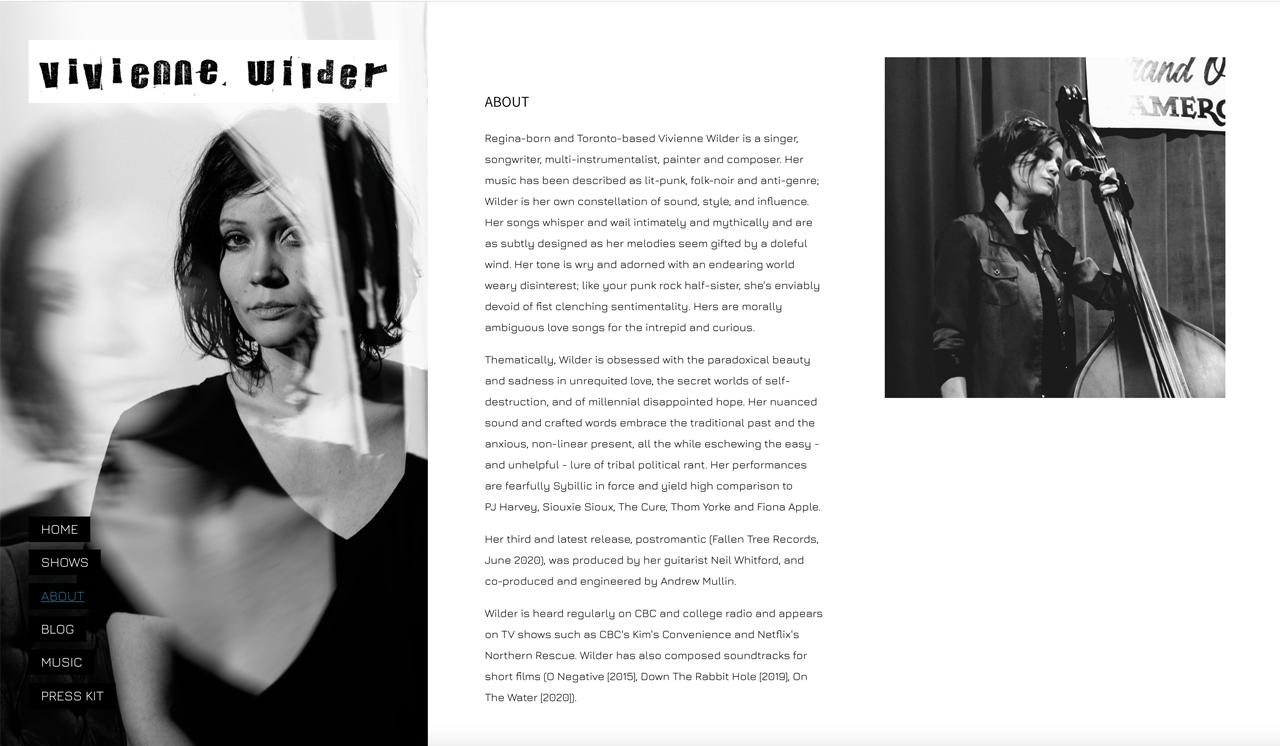 Best songwriter website designs: Vivienne Wilder