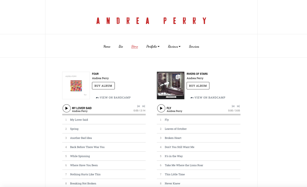 Best songwriter websites: Andrea Perry