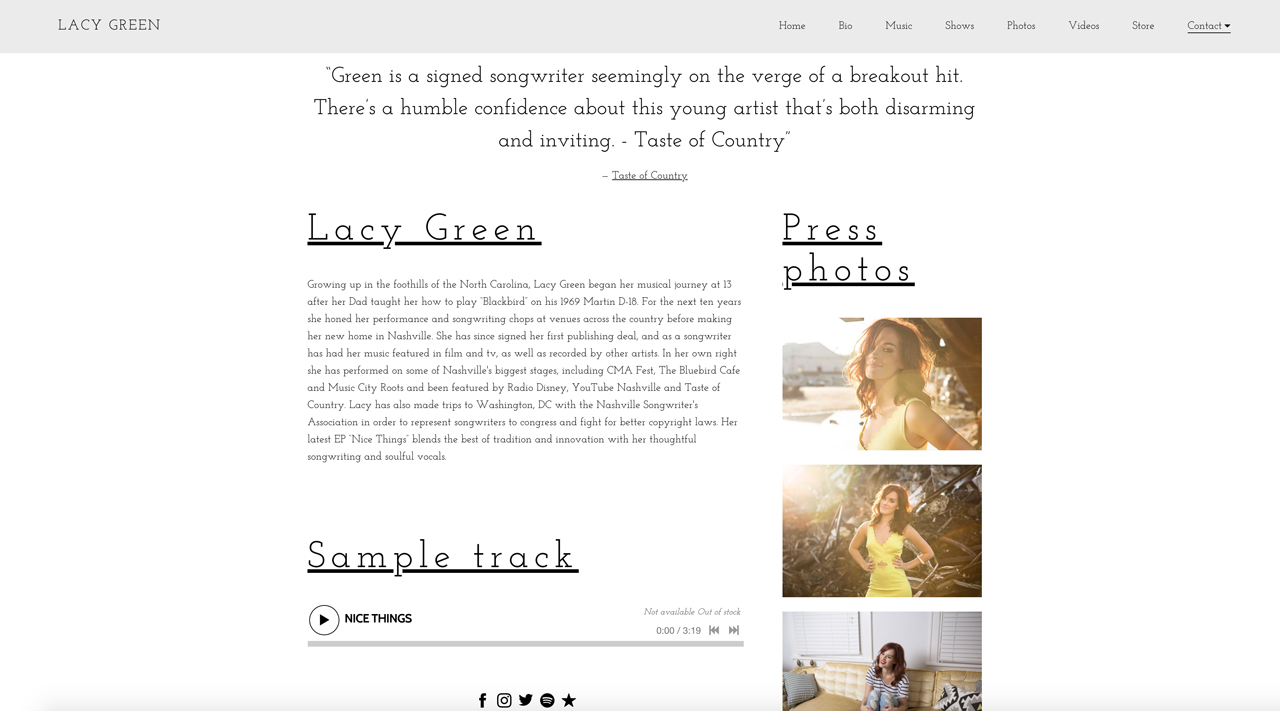 Best songwriter websites: Lacy Green