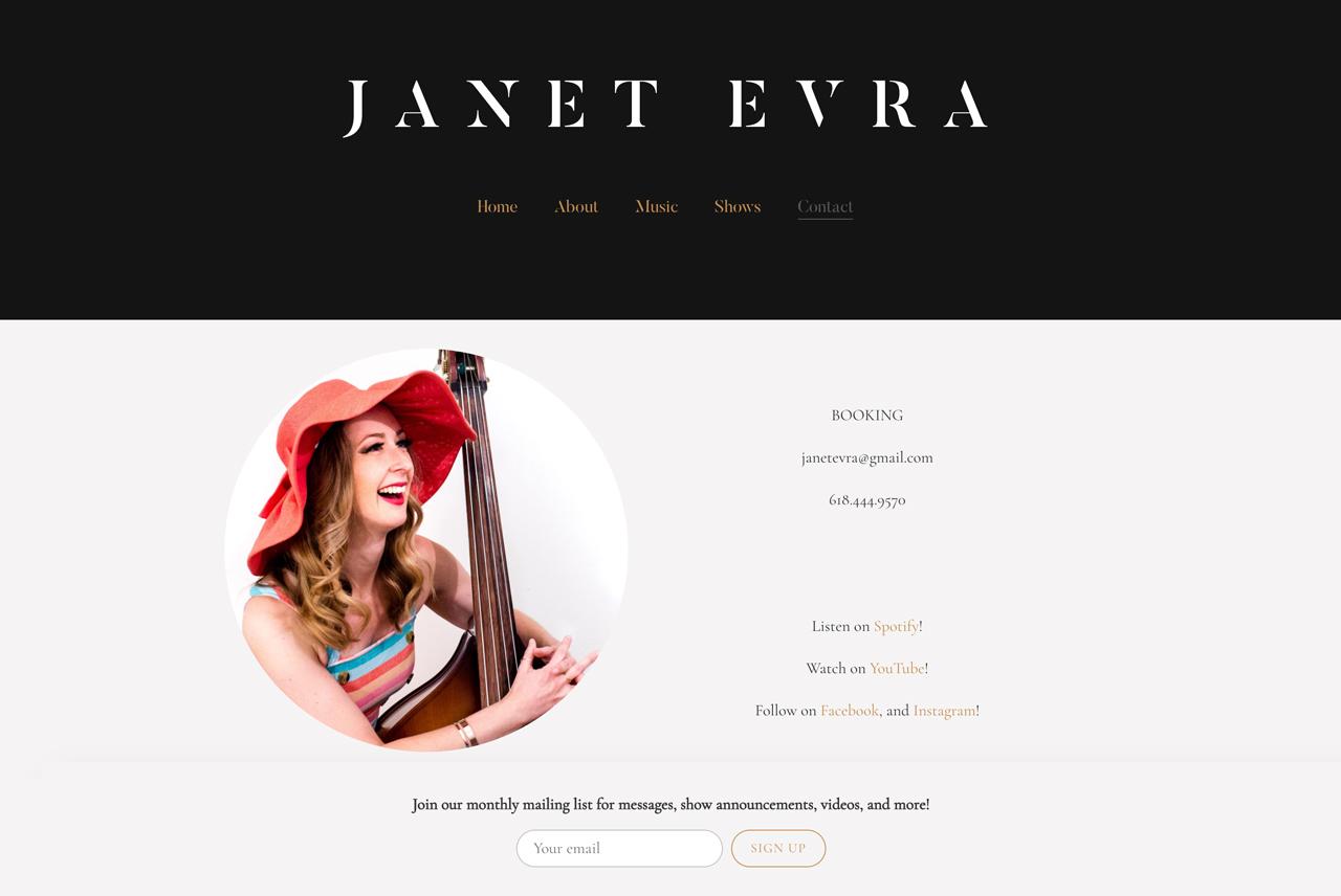 Best songwriter website designs: Janet Evra