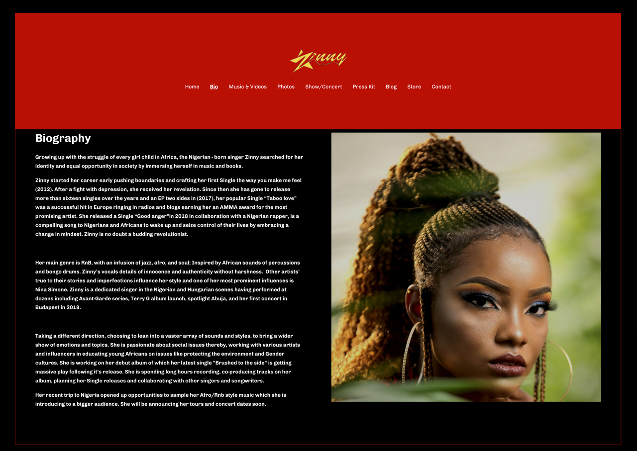Band website bio page example