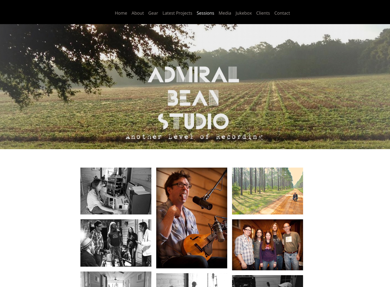 Recording Studio website examples - Admiral Bean studio