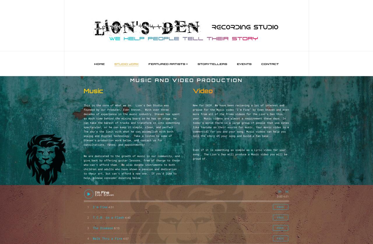 Recording Studio website examples - Lion's den