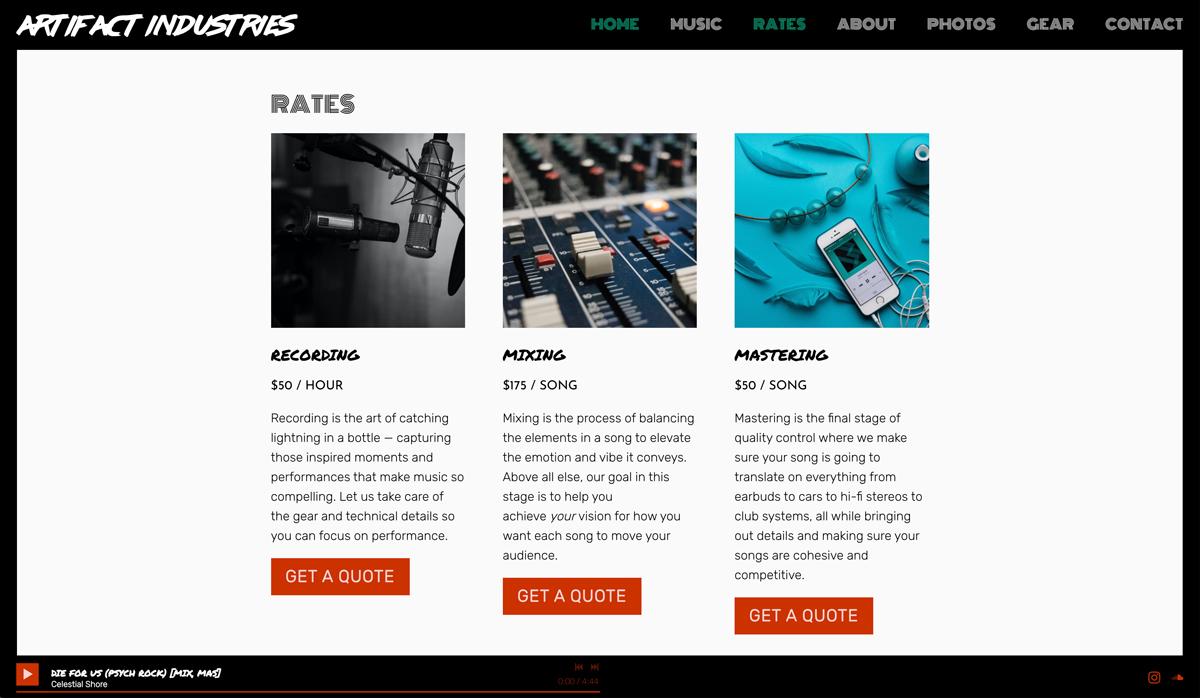 Recording Studio website examples - artifact industries