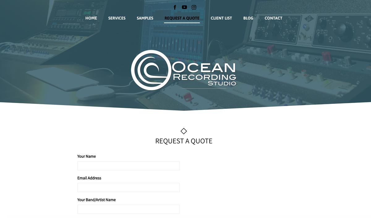 Recording Studio website examples - Ocean Recording Studios
