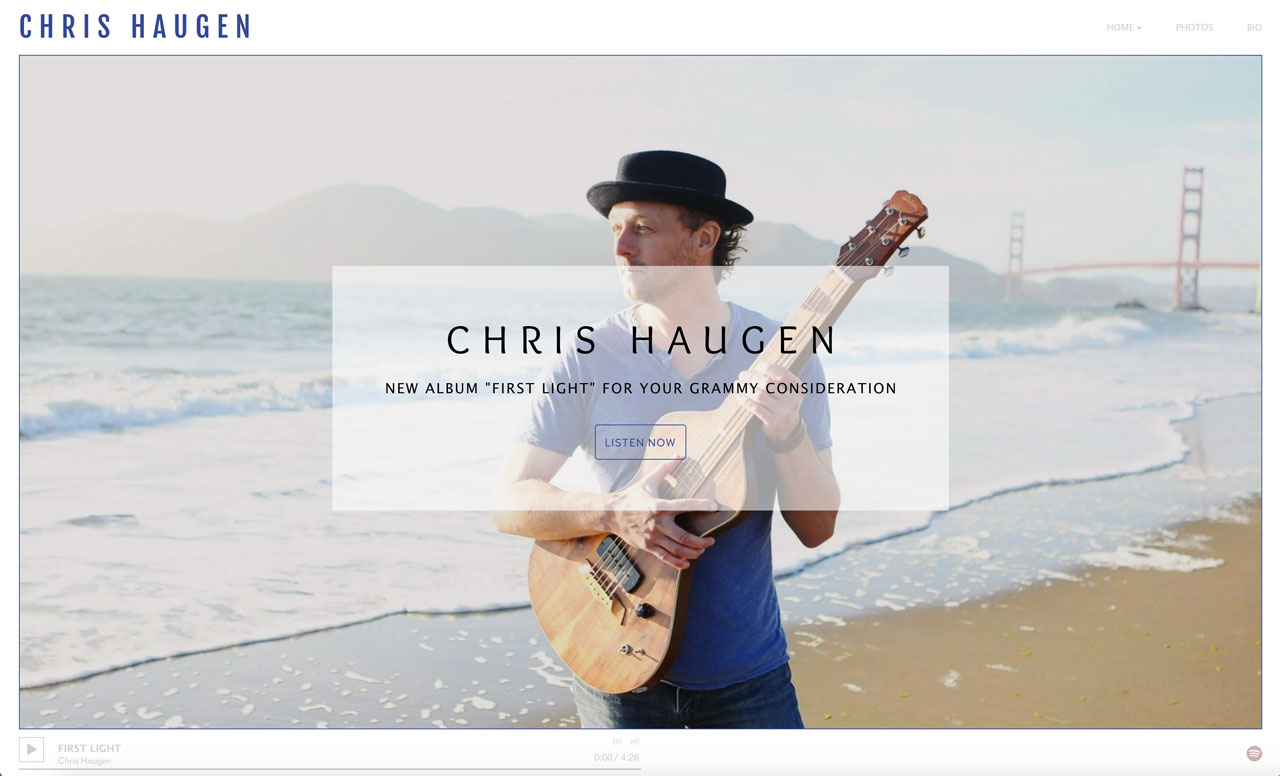 How to design a great guitarist website - homepage example