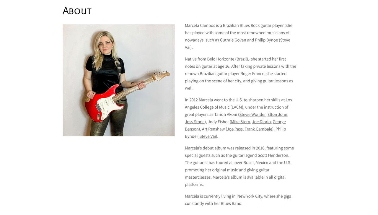 Design a guitarist website - bio page example