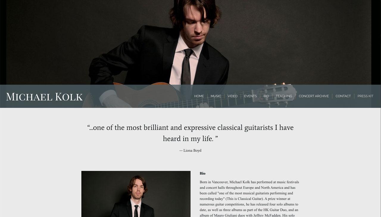 Guitarist website EPK example