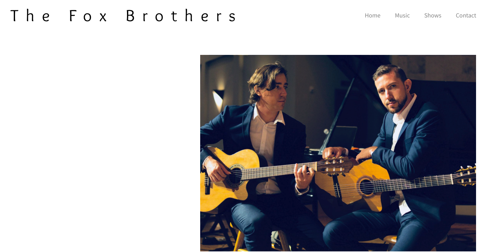 Guitarist website design - great header image