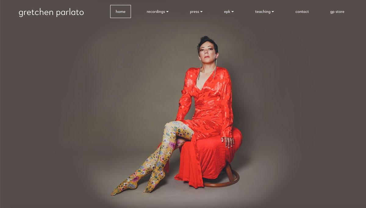 Jazz musician website homepage example
