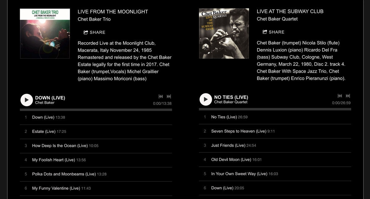 How to design a great jazz musician website music page