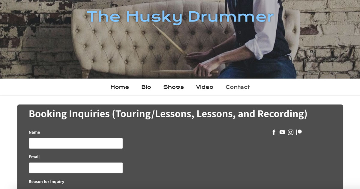 How to design a great drummer website contact