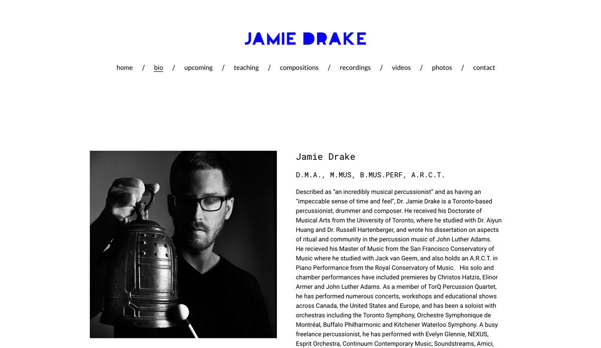 Best drummer websites: design examples