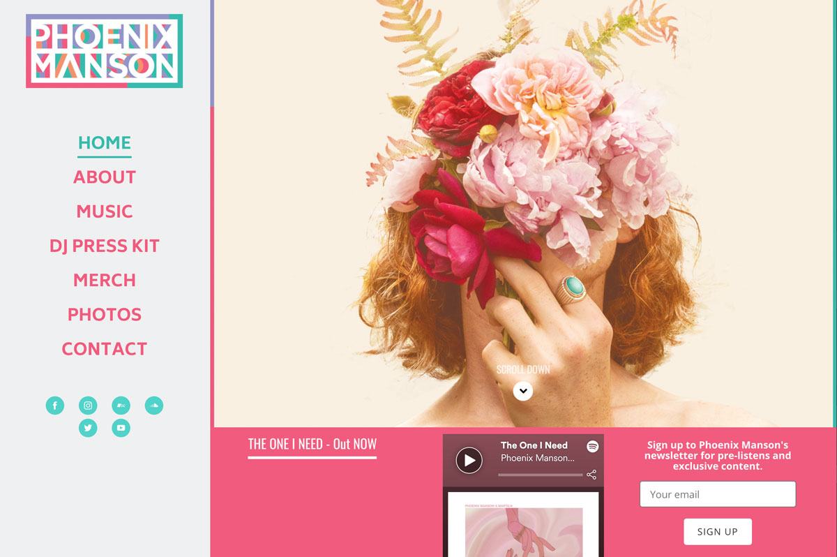 How to make a music website Homepage example