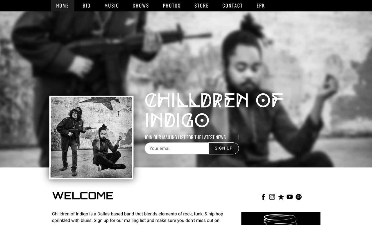 Band website template example