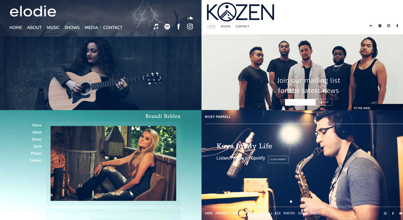 16 templates for musicians and bands