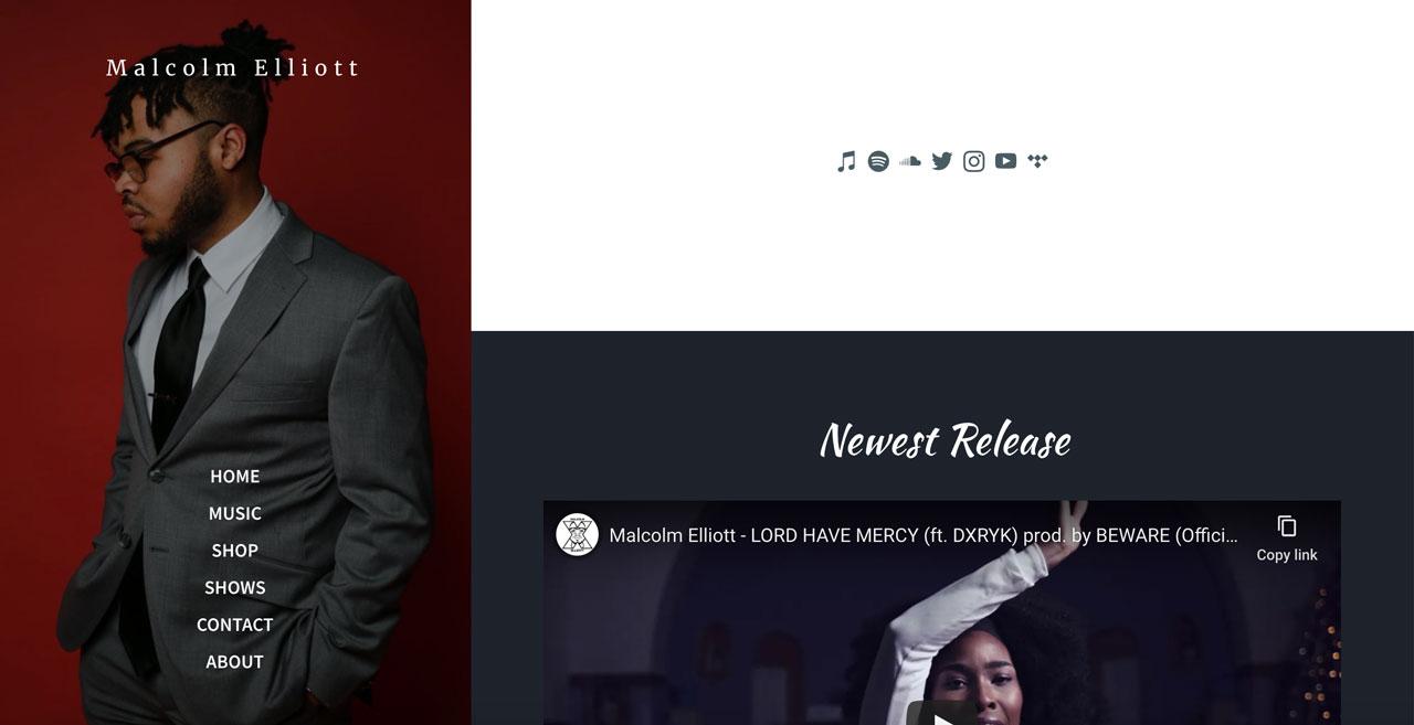 Best musician website designs - sidebar