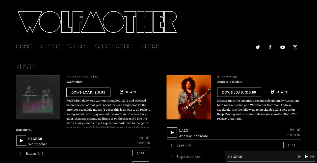 Best music website designs - one page website example