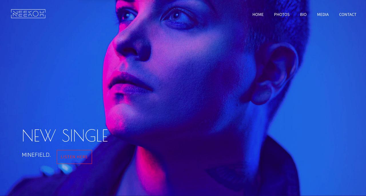 Best musician website designs - neon colors