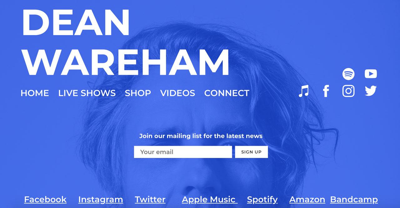 Best musician website designs - bold fonts