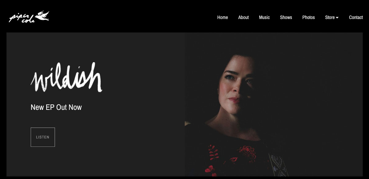 How to design a great singer songwriter website Homepage